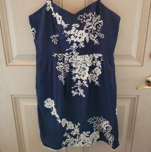 J Crew Navy blue dress w/ white Embroidery size 10